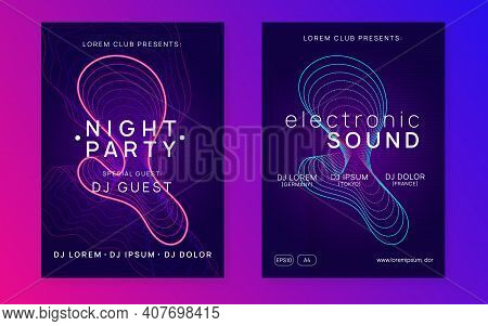 Dj Party. Dynamic Fluid Shape And Line. Cool Concert Cover Set. Neon Dj Party Flyer. Electro Dance M