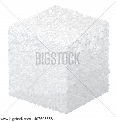 Vector Realistic 3d Sugar Cube Block Isolated On White Background.