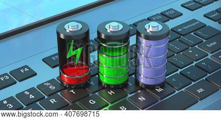 Battery Loading Steps On Laptop Keyboard, Tech App Symbol. 3D Illustration