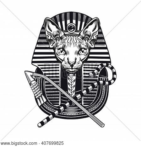 Pharaoh Sphinx Head Tattoo Design. Monochrome Element With Furless Cat Vector Illustration With Text