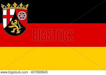 Official Large Flat Flag Of Rhineland-palatinate Horizontal