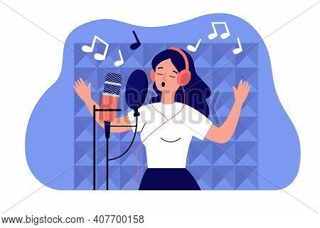 Vocalist Girl In Headphones Singing At Microphone In Sound Studio, Recording Song. Vector Illustrati