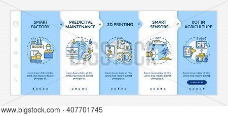 Industry 4.0 Tendencies Onboarding Vector Template. Smart Factory. 3d Printing. Iiot In Agriculture.