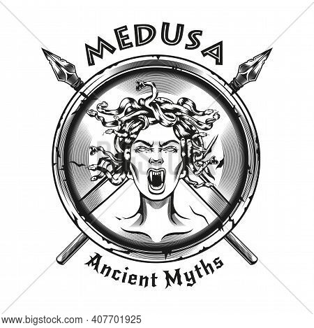 Engraving Shield With Medusa Gorgon Head. Black And White Design Element With Female Head, Spears, S