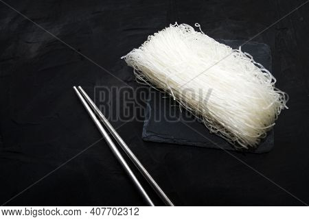 Japanese Healthy Food Ingredient Shirataki Noodles. Bean Noodles Isolated On White. Gluten Free Food