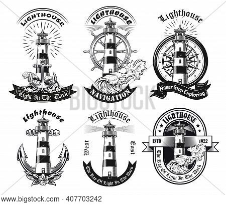 Monochrome Emblems With Lighthouse Vector Illustration Set. Vintage Stickers Of Tower With Beacon Li