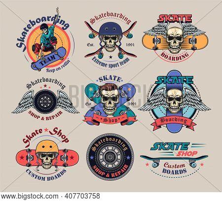 Vintage Extreme Skateboarding Flat Labels Set. Colored Skateboard Tattoo With Skull, Skeleton, Tire