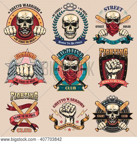 Vintage Gangsta Tattoo Flat Emblems Set. Black Monochrome Labels Or Signs For Street Gangs With Skul