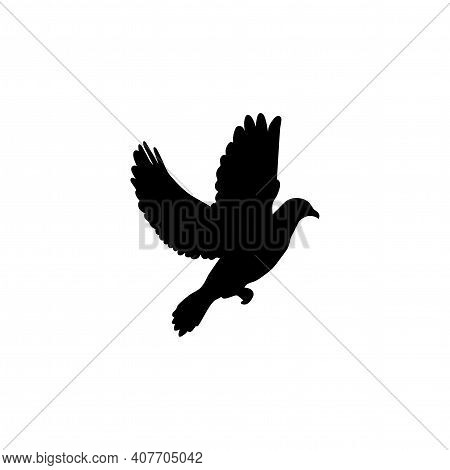 Simple Bird Silhouette Isolated On White Background. Vector Illustration. Flat Icon. Black And White