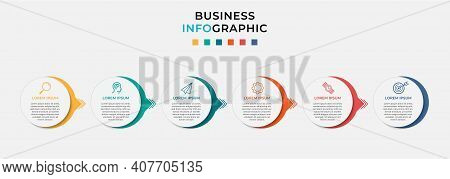 Minimal Business Infographics Template. Timeline With 6 Steps, Options And Marketing Icons .vector L