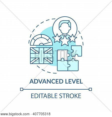 Advanced Level Concept Icon. Language Learning Stage Idea Thin Line Illustration. Advanced Writing S