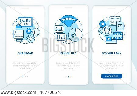 Language Learning Categories Onboarding Mobile App Page Screen With Concepts. Linguistics, Phonetics