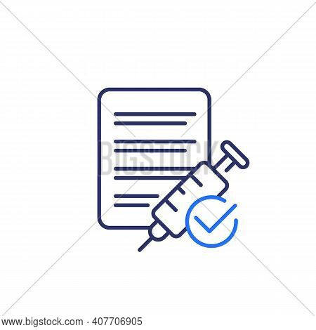 Vaccination Done, Line Icon On White, Vector