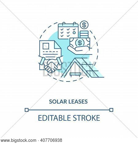 Using Produced Power Of Battery Concept Icon. Solar Leases Idea Thin Line Illustration. Generate Cle