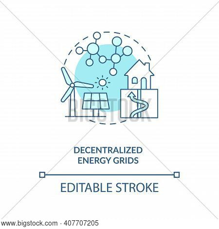 Decentralized Energy Grids Concept Icon. Blackouts And Infrastructure Damage Idea Thin Line Illustra