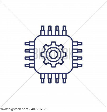 Technology Line Icon With Chipset And Gear