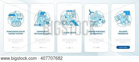 Solar Energy Solution. Resources Of Energy Onboarding Mobile App Page Screen With Concepts. Photovol