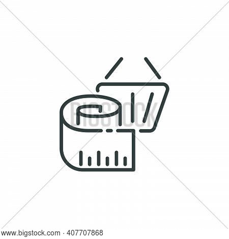Measuring Meter And Shopping Basket Thin Line Icon. Product Dimensions. Isolated Outline Commerce Ve