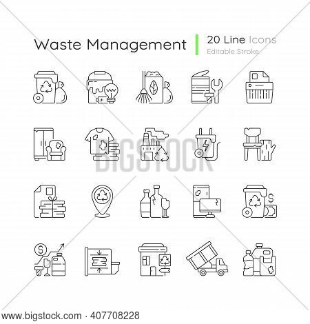 Waste Management Linear Icons Set. Residential Waste Collection. Paper Shredding. Grass Clippings. C