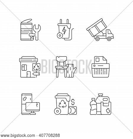 Garbage Collection Linear Icons Set. Metal Waste. Energy-from-waste. Open-top Dumpster. E-waste. Cus