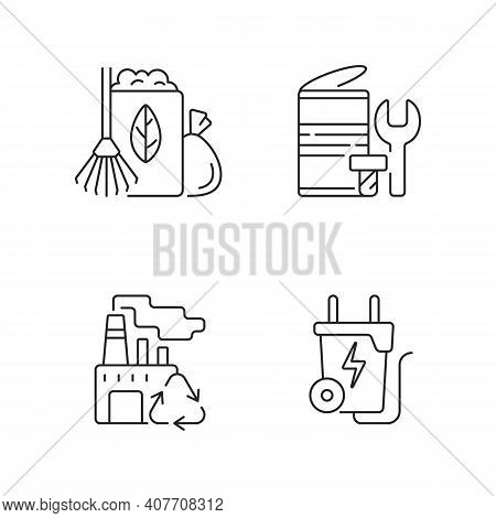 Environmental Concern Linear Icons Set. Yard Waste Collection. Scrap Iron And Aluminum Components. C