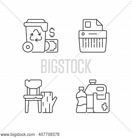 Managing Waste Linear Icons Set. Waste Management Cost. Paper Shredding. Wood Products. Recycling. C