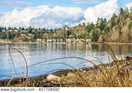 A Veiw Of The West Seattle Shoreline From Lincoln Park.