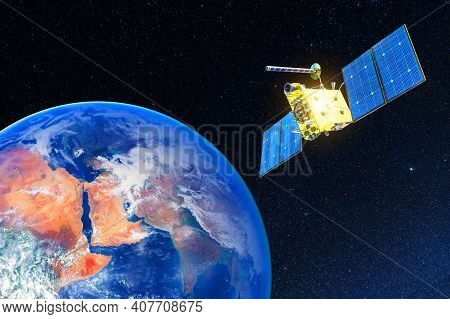 Research, Probing, Monitoring Of In Atmosphere. Communications Satellite In Orbit Above The Surface