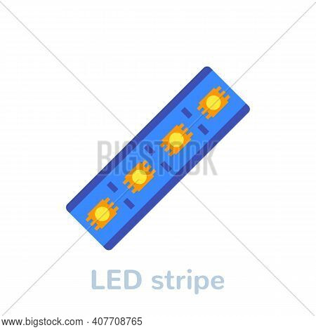 Led Stripe Icon On White, Flat Vector