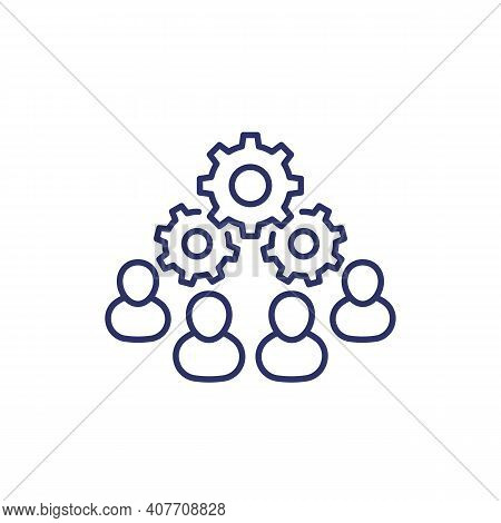 Cooperation And Combined Effort Line Icon On White