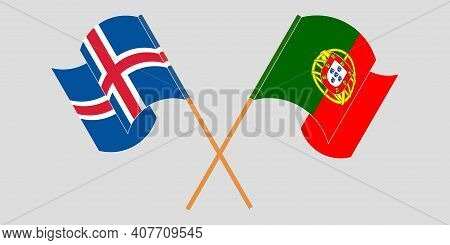 Crossed And Waving Flags Of Iceland And Portugal. Vector Illustration