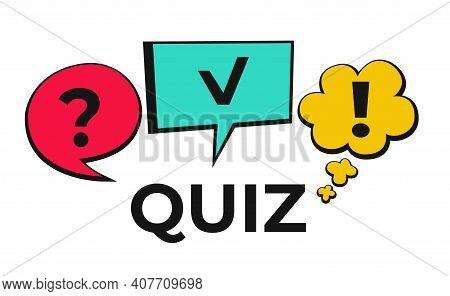 Quiz Logo In Comic Style. Quiz Brainy Game. Vector