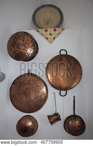 Vivlos, Naxos / Greece - August 23, 2014: Pot Copper In Vivlos Folklore Museum, Naxos, Cyclades Isla