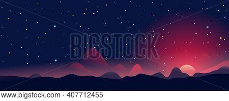 Fantastic Sunrise Landscape Panorama Among The Mountains On Background Of Starry Sky, Evening Landsc