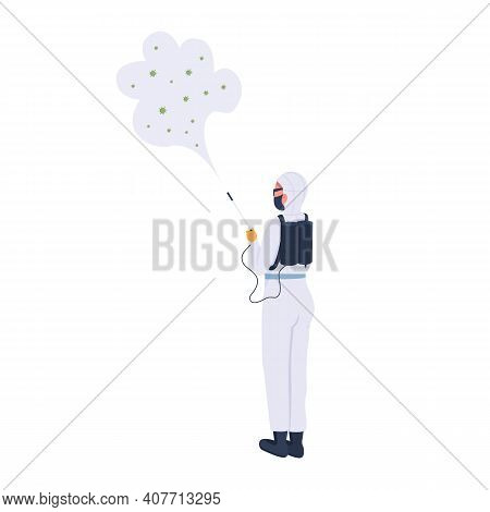 Disinfector Flat Color Vector Faceless Character. Woman With Special Device For Killing Dangerous Vi