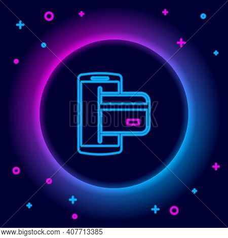 Glowing Neon Line Nfc Payment Icon Isolated On Black Background. Mobile Payment. Nfc Smartphone Conc
