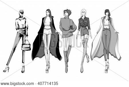 Beautiful Young Women In Modern Style.. Hand Drawn Stylish Woman Portrait. Fashion Lady. Sketch Set.