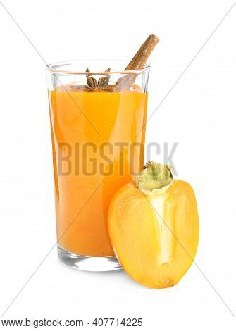 Tasty Persimmon Smoothie With Anise And Cinnamon Isolated On White