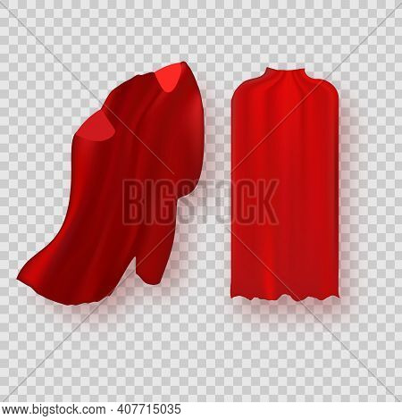 Cape Isolated On White Background. Red Superhero Cloak. Vector Super Hero Cloth Or Silk Flying Cape