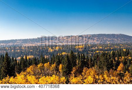 Fall Colours In The Hamlet. Benchlands, Alberta, Canada