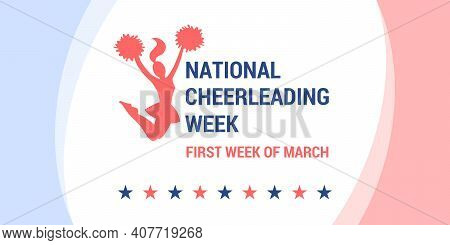 National Cheerleading Week. Vector Banner, Poster, Flyer, Greeting Card For Social Media. Silhouette