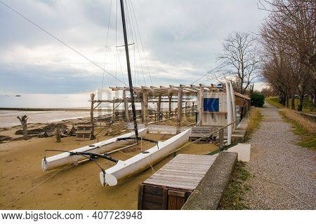 Winter On A Popular Beach At A Popular Tourist Resort Near Grado, Friuli-venezia Giulia, North East