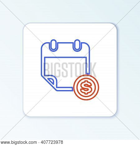 Line Financial Calendar Icon Isolated On White Background. Annual Payment Day, Monthly Budget Planni
