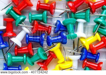 Push Pins Isolated On White Background. Colourful Push-pin Thumbtack Tools Office On White Backgroun