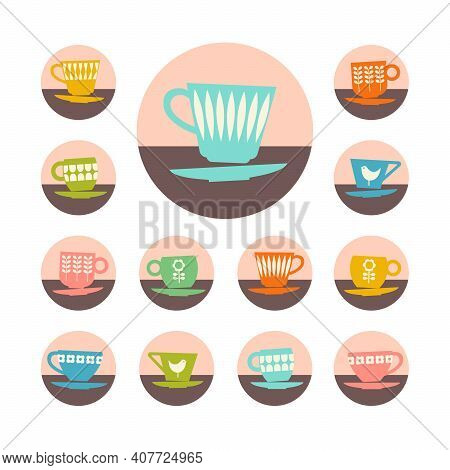 Icon Set Of Retro Mid Century Teacups. Design Elements For Social Media, Web Pages, Mobile Apps. Vec