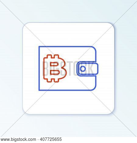 Line Cryptocurrency Wallet Icon Isolated On White Background. Wallet And Bitcoin Sign. Mining Concep