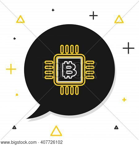 Line Cpu Mining Farm Icon Isolated On White Background. Bitcoin Sign Inside Microchip. Cryptocurrenc