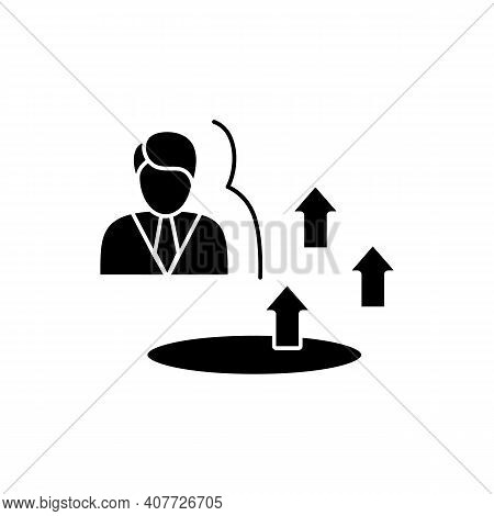 Growth Zone Glyph Icon. Route To Success. Self Improvement And Self Realization. Business And Career