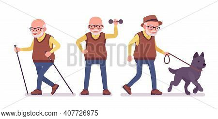 Old Man, Elderly Person With Nordic Walking Poles, Pet Dog. Senior Citizen, Retired Grandfather Wear