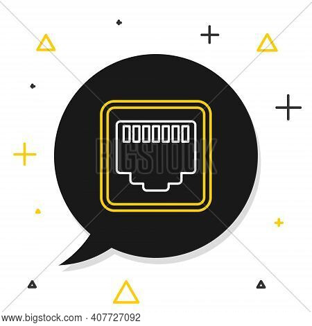 Line Network Port - Cable Socket Icon Isolated On White Background. Lan, Ethernet Port Sign. Local A